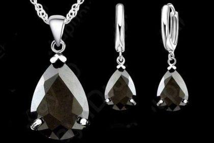 Schmuck-Set: 925 Sterling Silber Halskette mit Tropf-Kristall, schwarz
