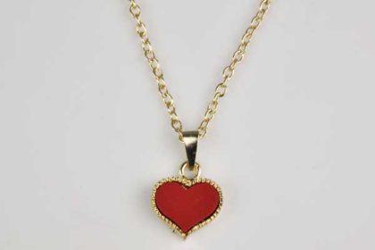 Kupferfarbene Halskette 40-45 cm mit rotem Herz