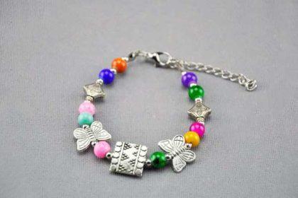 Armband 16 - 20cm mit vielen Beads und bunten Perlen