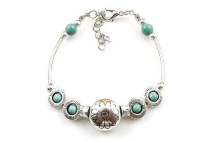 Armband 17 - 22cm mit vielen Beads und türkisen Steinen