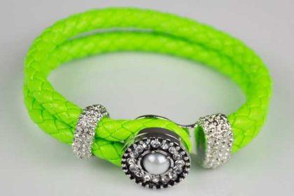 Armband 220 x 15 mm mit Chunk Charm Button, neongrün