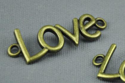 Bronzener Ketten-Anhänger 40mm, LOVE