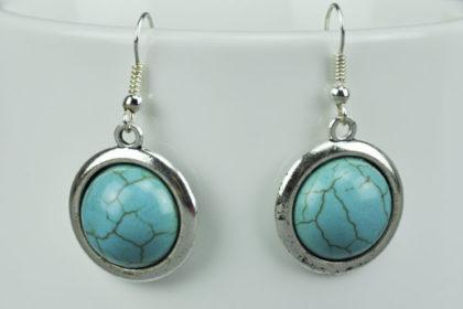 Tibet-Silber Ohr-Anhänger mit türkisem runden Stein