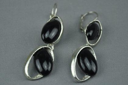Ohr-Anhänger silbern mit 2 schwarzen Steinen