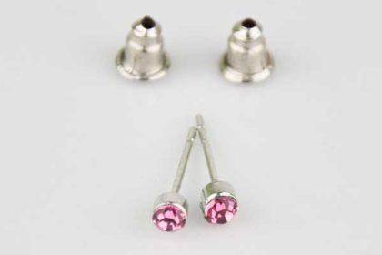 1 Paar Ohrstecker mit Kristall, pink