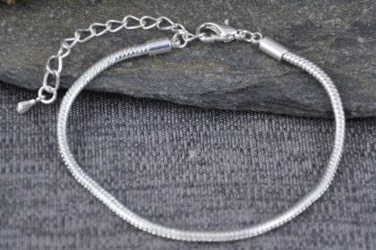 Schlangenkette Armband, versilbert, 180/230 x 2.5 mm