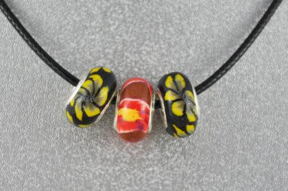 Halskette Leder 50 cm, inkl. 3 Fimo-Beads