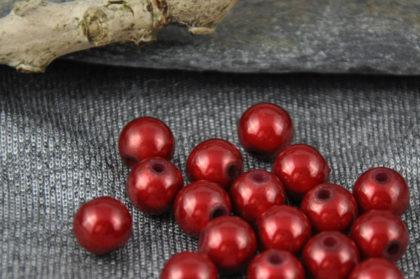 10 x Acryl Beads/Kugeln 8 mm, weinrot