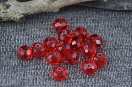 5 Stück Kristall 8 x 6 mm, rot