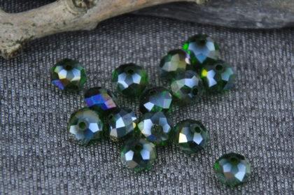 5 Stück Kristall 8 x 6 mm, dunkelgrün