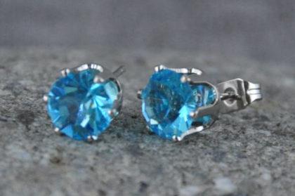 Kristall Ohrstecker blau, wie abgebildet - 1 Paar