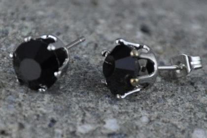 Kristall Ohrstecker schwarz, wie abgebildet - 1 Paar