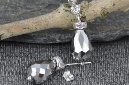 Kristall-Ohrhänger Träne, 10 x 10 x 19mm, klar