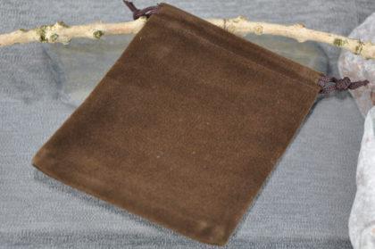 Velvet-Samttasche, 12 x 10cm, kaffeebraun