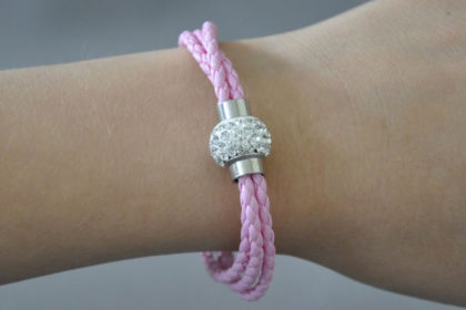Shamballa Armband mit klaren Kristallen, rosa