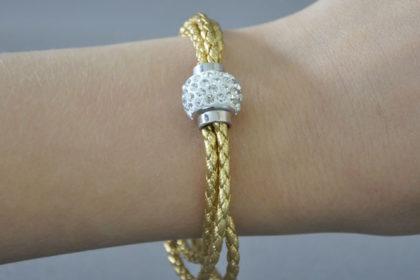 Shamballa Armband mit klaren Kristallen, gold