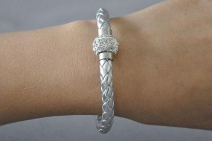 Shamballa Armband mit klaren Kristallen, silber