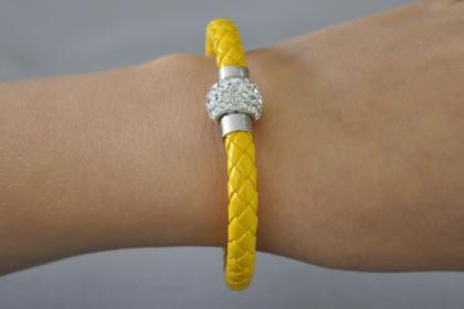 Shamballa Armband mit klaren Kristallen, gelb