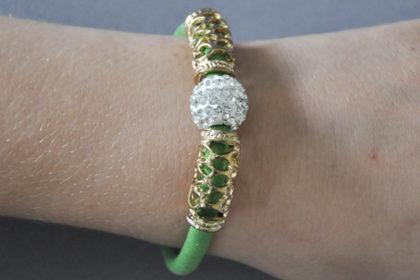 Shamballa PU-Leder Armband mit klarem Kristall, grün