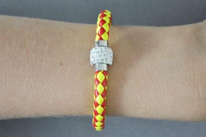 Shamballa Armband mit klaren Kristallen, rot-gelb