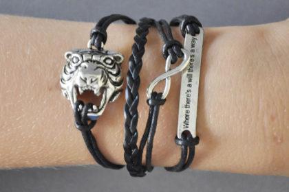 PU-Leder Armband mit Strängen und Anhängern, schwarz