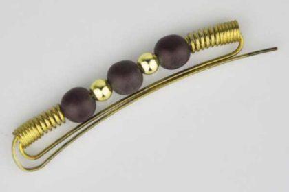 Messing-Haarspange mit braunen und goldenen Perlen