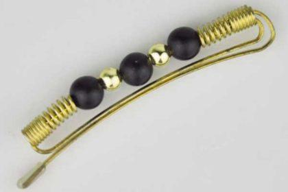Messing-Haarspange mit schwarzen und goldenen Perlen