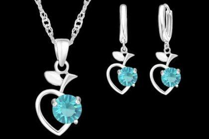 Schmuck-Set: 925 Sterling Silber Halskette mit Apfel-Anhänger sowie Ohrringe