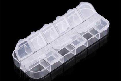 Aufbewahrungsbox mit 12 einzeln zu öffnenden Fächern für Pillen, Schmuck usw.