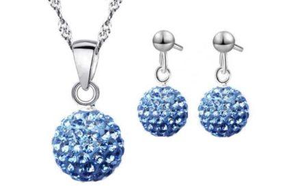 Schmuck-Set: 925 Sterling Silber Halskette mit Kugel-Anhänger blau sowie Ohrstecker