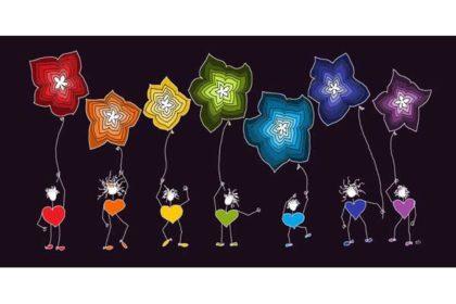 Geschenkekarte/Glückwunschkarte, schwarz mit Herz-Figuren und Blumen-Ballons