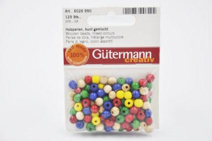 Gütermann creativ - 125 Stück Holzperlen bunt gemischt, 6mm