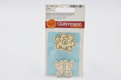 Gütermann creativ Holzbroschen Schmetterling und Blume 40 mm, 2 Stück