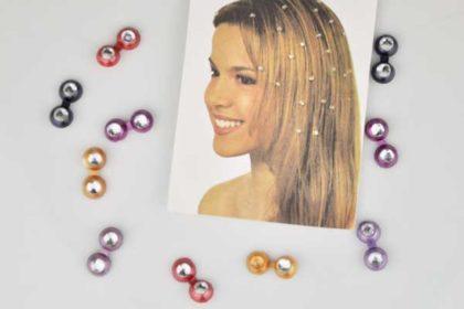 10 x Haar-Klips in verschiedenen Farben mit Kristallen