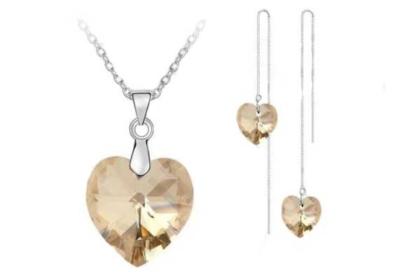 Schmuck-Set: 925 Sterling Silber Halskette mit Herz-Anhänger gelb-braun sowie Ohrringe