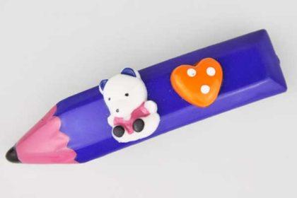 Kinder Haarklemme als Bleistift mit Bär und Herz