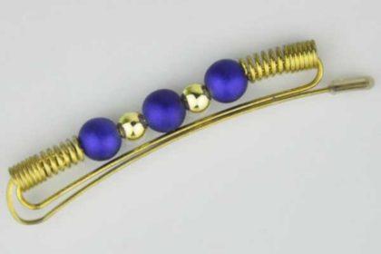 Messing-Haarspange mit blauen und goldenen Perlen