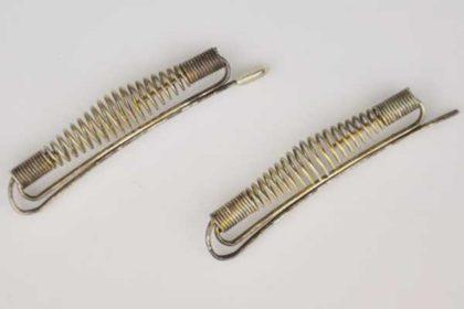 2 x Metallfarbene Haarspangen mit Federn