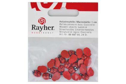 Rayher Holzstreuteile Marienkäfer 1 cm, 24 Stück