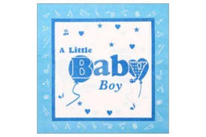 Serviette 2-lagig 33x33 cm, blau-weiss A Little Baby Boy