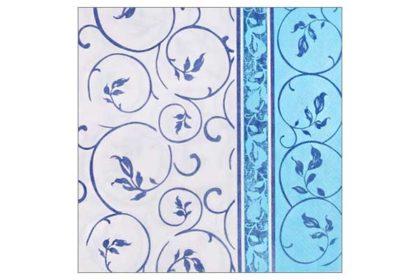 Serviette 2-lagig 33x33 cm, blau-weiss mit Blumenranken