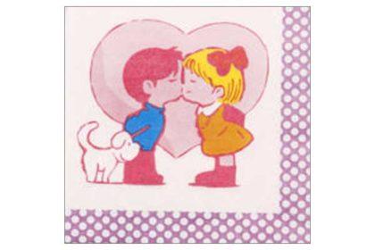 Serviette 2-lagig 33x33 cm, bunt mit Kinder küssend