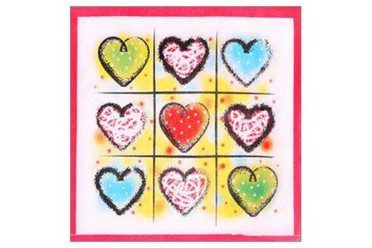 Serviette 2-lagig 33x33 cm, bunt mit farbigen Herzen