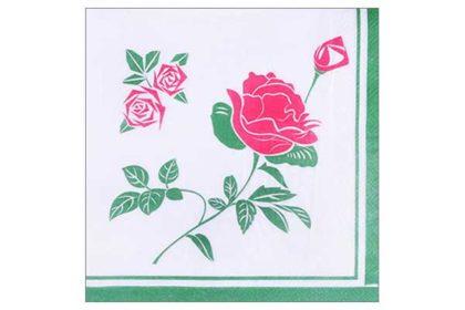 Serviette 2-lagig 33x33 cm, grün-weiss mit Rose