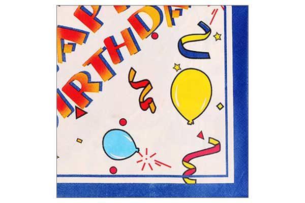 Serviette 2-lagig 33x33 cm, bunt - HAPPY BIRTHDAY