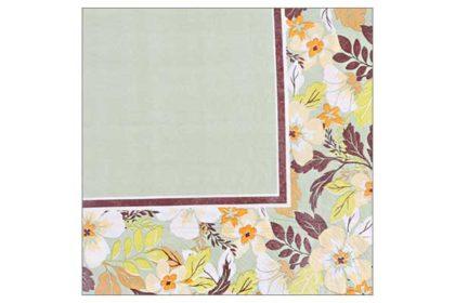 Serviette 2-lagig 33x33 cm, hellgrün mit Blumen