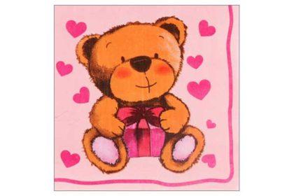 Serviette 2-lagig 33x33 cm, rosa mit Bär und Herzen