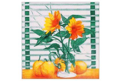 Serviette 2-lagig 33x33 cm, bunt mit Blumenvase