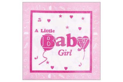 Serviette 2-lagig 33x33 cm, rosa 'A Little Baby Girl'