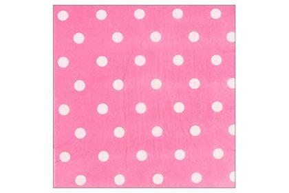 Serviette 2-lagig 33x33 cm, rosa-weiss gepunktet